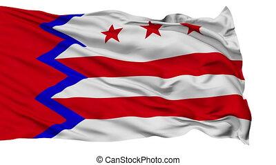 Isolated Waving National Flag of Washington Town, Maine