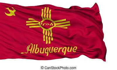 Isolated Waving National Flag of Albuquerque City