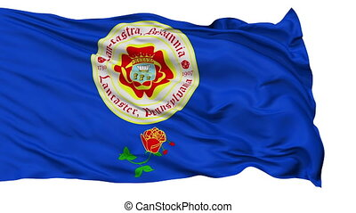 Isolated Waving National Flag of Lancaster City, Pennsylvania