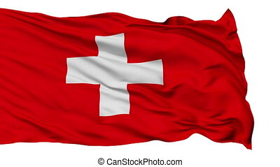 Isolated Waving National Flag of Switzerland
