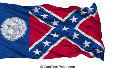 Isolated Waving National Flag of Trenton City, Georgia