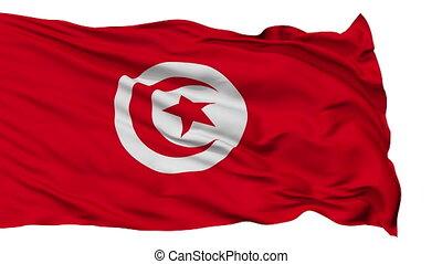 Isolated Waving National Flag of Tunisia - Tunisia Flag...