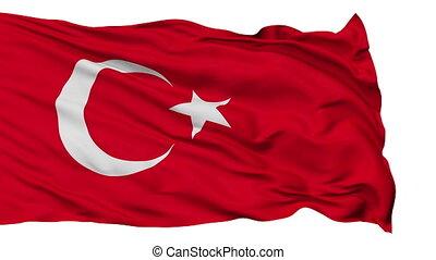 Isolated Waving National Flag of Turkey