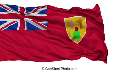 Isolated Waving National Flag of Turks and Caicos Islands -...