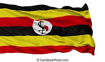 Isolated Waving National Flag of Uganda