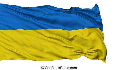 Isolated Waving National Flag of Ukraine