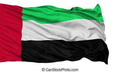 Isolated Waving National Flag of United Arab Emirates
