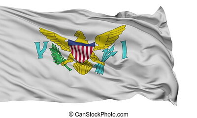 Isolated Waving National Flag of United States Virgin Islands
