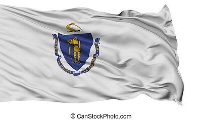 Isolated Waving National Flag of Massachusetts -...