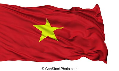 Isolated Waving National Flag of Vietnam