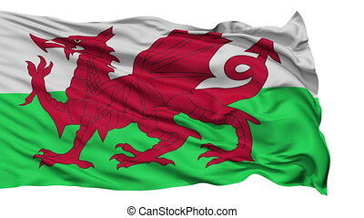 Isolated Waving National Flag of Wales - Wales Flag...