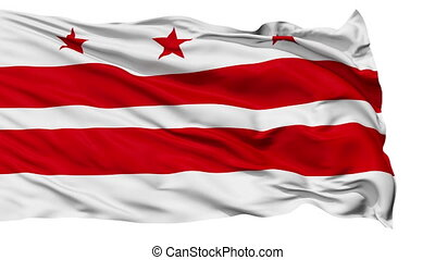 Isolated Waving National Flag of Washington D.C. City