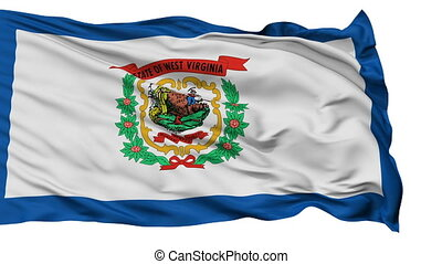 Isolated Waving National Flag of West Virginia