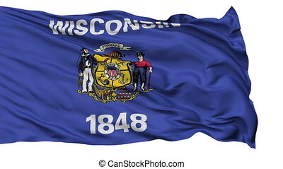 Isolated Waving National Flag of Wisconsin