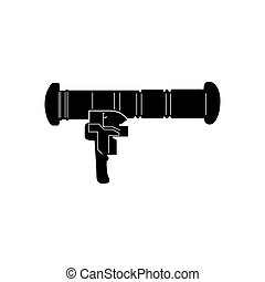 Isolated weapon - Isolated silhouette of a bazooka, Vector...