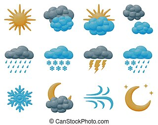 Isolated weather icons collection of overcast sky