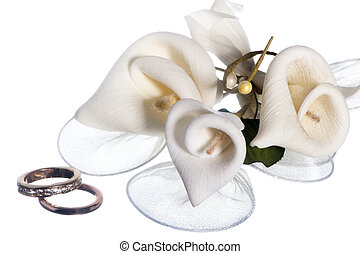 isolated wedding ring and  favors