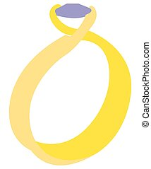 Isolated wedding ring on a white background, Vector...