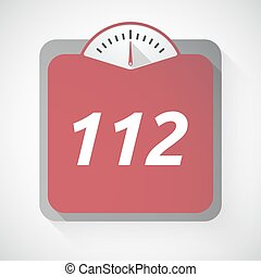 Isolated weight scale with the text 112