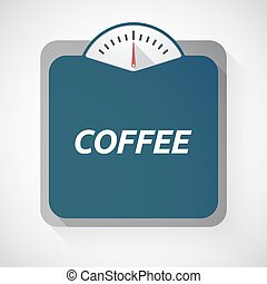 Isolated weight scale with the text COFFEE
