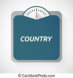 Isolated weight scale with the text COUNTRY