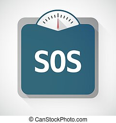 Isolated weight scale with the text SOS