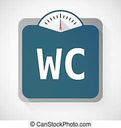 Isolated weight scale with the text WC