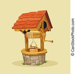 Isolated well. Vector flat cartoon illustration