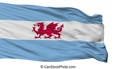 Isolated Welsh colony in Patagonia city flag, Argentina