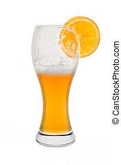 Isolated Wheat Beer, Half Full with Orange Slice