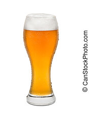 Isolated Wheat Beer, with Condensation and Foam top #1