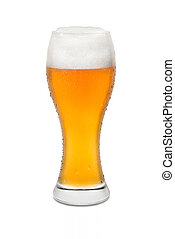 Isolated Wheat Beer, with Condensation and Foam top #2