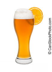 Isolated Wheat Beer, with Orange Slice #2