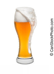 Isolated Wheat Beer, with Overflowing Foam Running Down Side