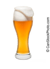 Isolated Wheat Beer, with Overflowing Foam