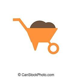 Isolated wheelbarrow flat style icon vector design