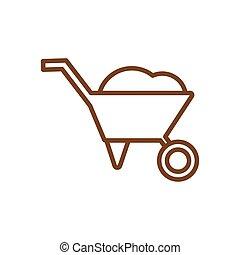 Isolated wheelbarrow line style icon vector design