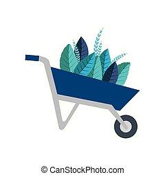 Isolated wheelbarrow with leaves vector design