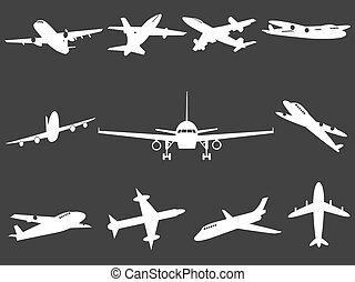 White Airplane silhouettes