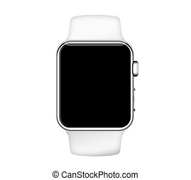 Isolated white band silver aluminum case smart watch