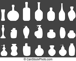 white Bathroom bottles silhouettes