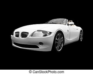 isolated white car front view 01 - isolated white cabriolet...