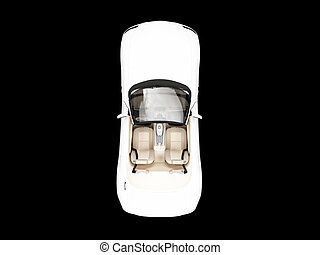isolated white car top view - isolated white cabriolet on a...