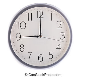isolated white clock at nine