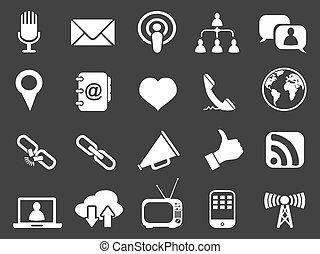 white communication icons set