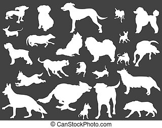 white dogs silhouettes set