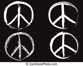 isolated white doodle peace symbol from black background