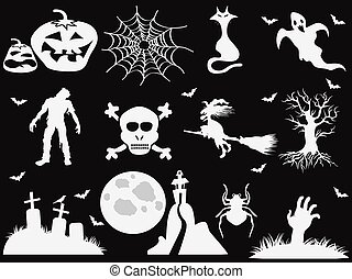 halloween icons on black background