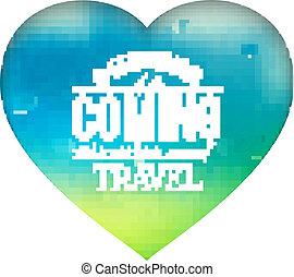 Isolated white heart with text on a bright background