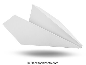 white paper - Isolated white paper airplane. Clipping Path